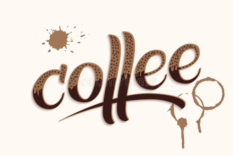 Dragen hand märka kaffe med fläckar Elegant modern handskriven kalligrafi Vektorfärgpulverillustration typografi stock illustrationer