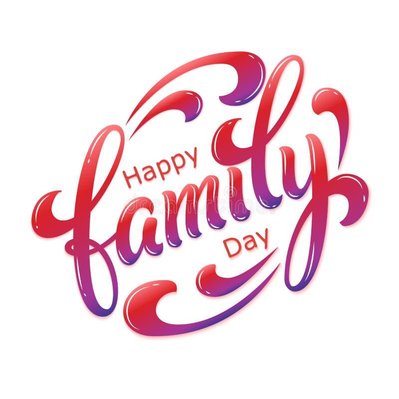 Dragen hand märka lycklig familjdag Vektorfärgpulverillustration Färgrik typografi på vit bakgrund med skugga och stock illustrationer