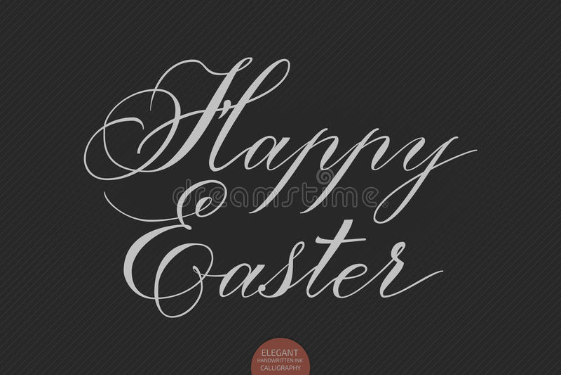 Dragen hand märka lycklig påsk Elegant modern handskriven kalligrafi Vektorfärgpulverillustration vektor illustrationer