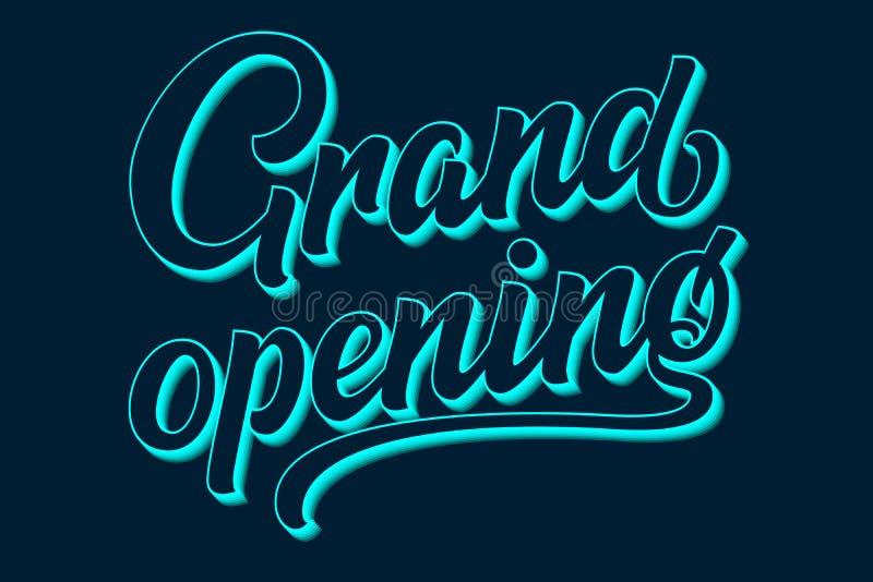 Dragen hand märka storslagen öppning Elegant isolerad modern kalligrafi med skugga Vektorfärgpulverillustration för stock illustrationer