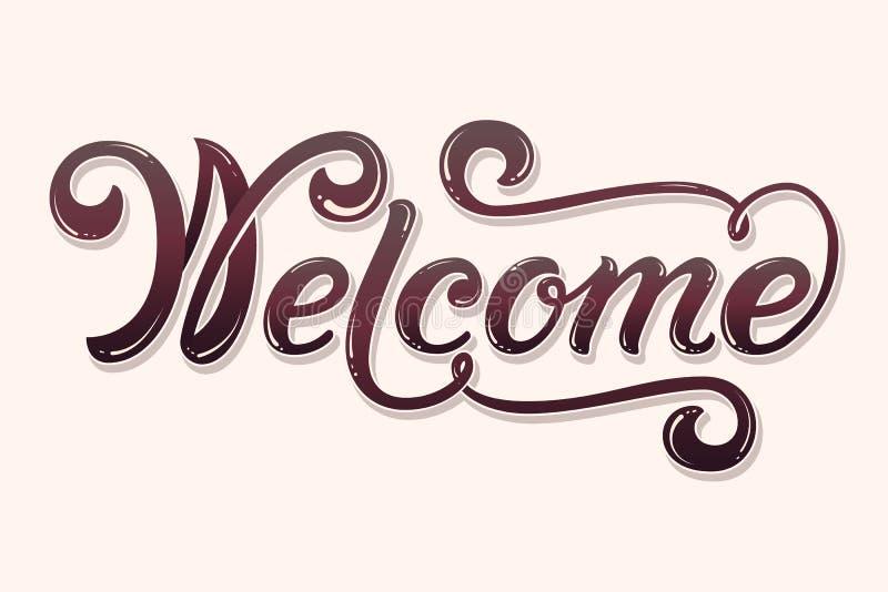 Dragen hand märka välkomnande med skugga och viktig Elegant modern handskriven kalligrafi Vektorf?rgpulverillustration stock illustrationer