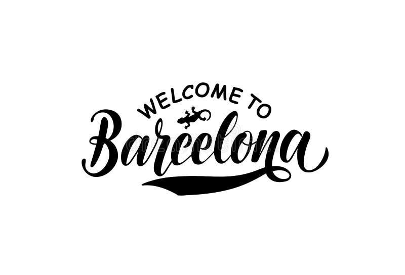 Dragen hand märka välkomnande till Barcelona och ödlan royaltyfri illustrationer