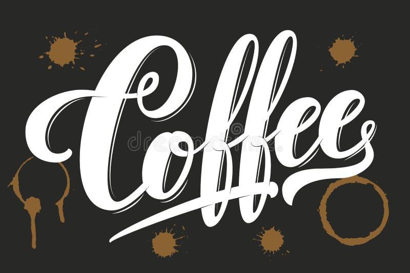 Dragen hand m?rka kaffe med fl?ckar Elegant modern handskriven kalligrafi Vektorf?rgpulverillustration typografi vektor illustrationer