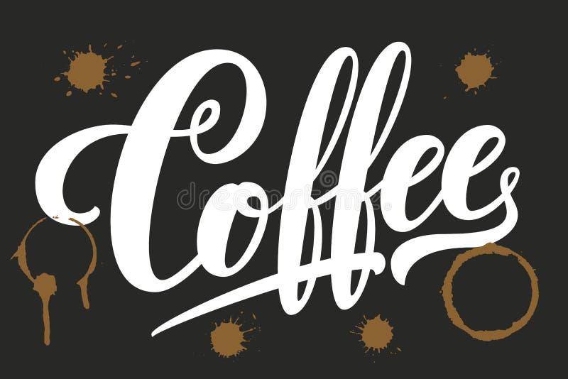 Dragen hand m?rka kaffe med fl?ckar Elegant modern handskriven kalligrafi Vektorf?rgpulverillustration typografi royaltyfri illustrationer
