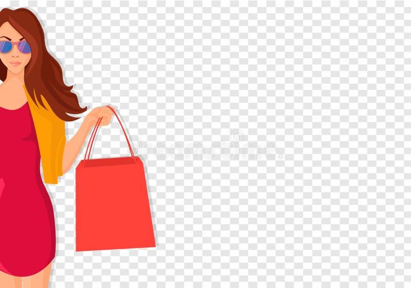 Dragen hand shoppa kvinnan med påsar royaltyfri illustrationer