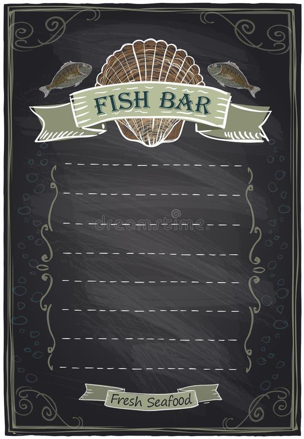 Dragen havs- meny för svart tavla hand royaltyfri illustrationer