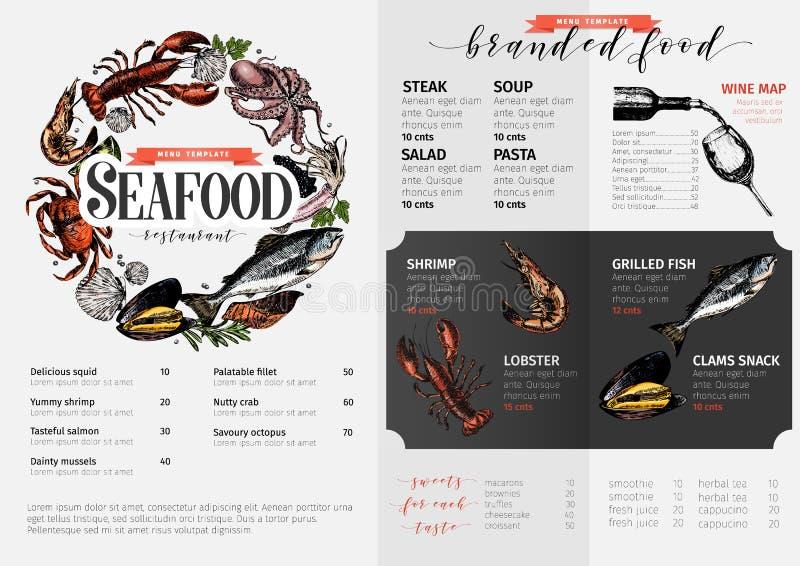Dragen havs- menymall för vektor hand den kulöra humret, laxen, krabban, räka, bläckfisken, tioarmad bläckfisk, samlar musslor vektor illustrationer