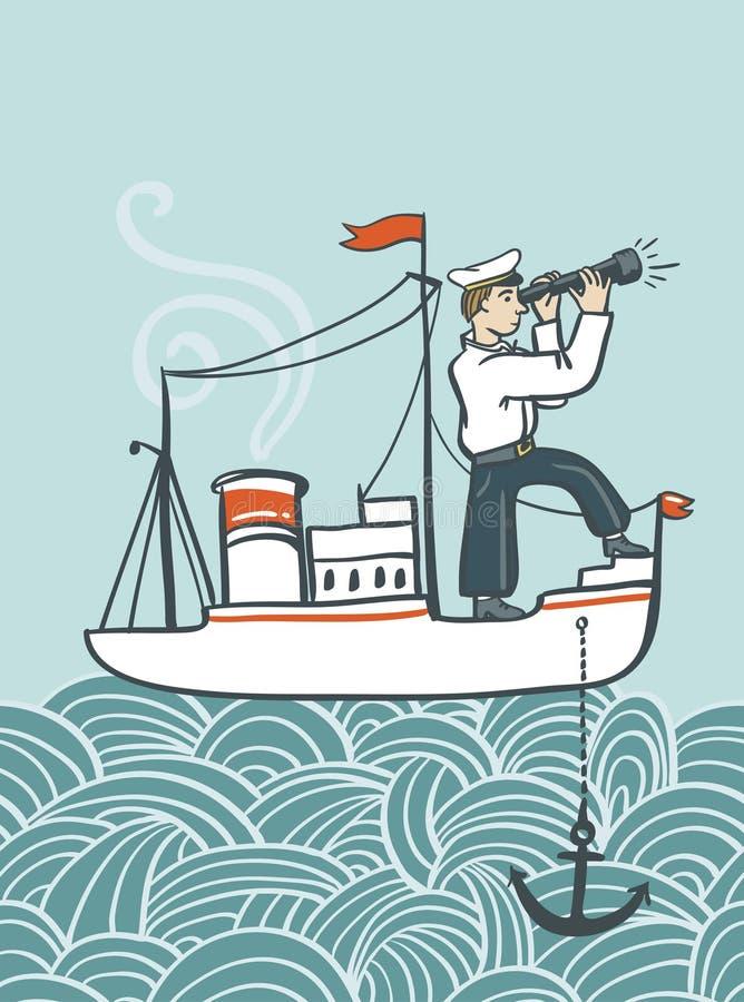 Dragen havsaffisch för vektor hand med skeppet, vågor och sjömannen royaltyfri illustrationer