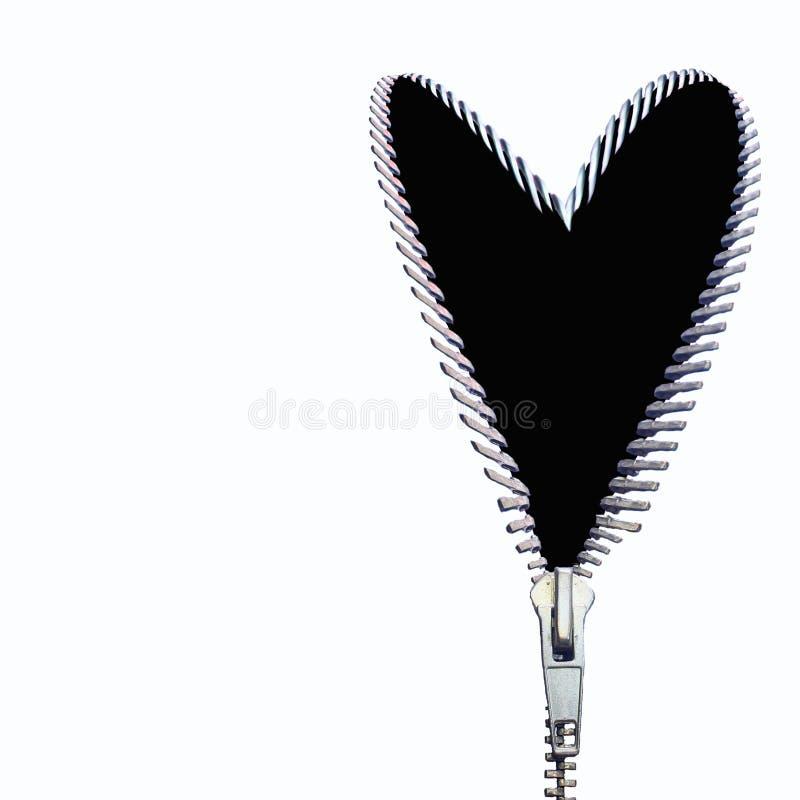 dragen igen blixtlåset på svart hjärta royaltyfri bild