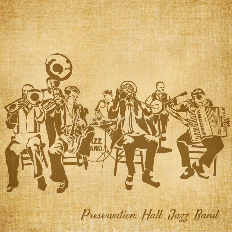 Dragen illustration för bevarande Hall Jazz Band Digital Hand royaltyfri illustrationer