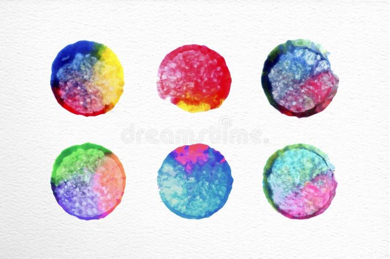 Dragen illustration för vattenfärgcirkeluppsättning hand stock illustrationer