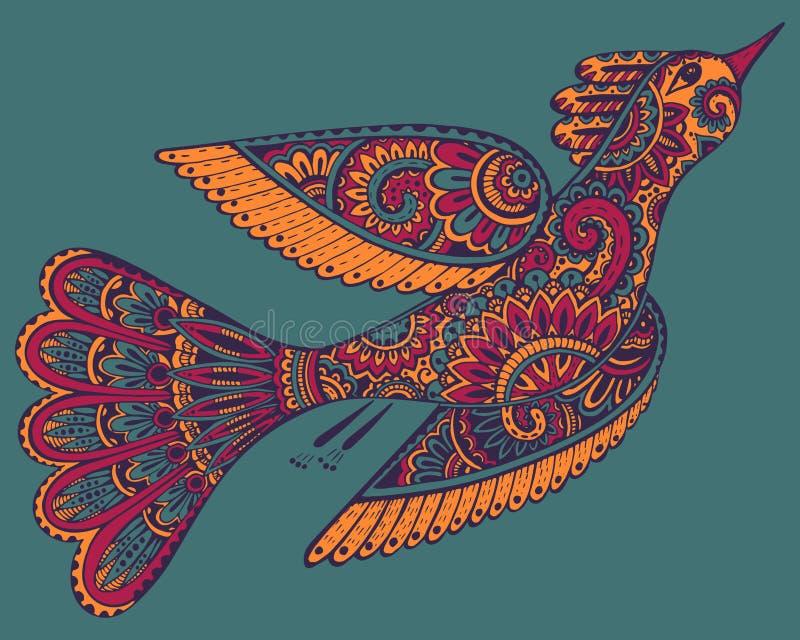 Dragen illustration för vektor hand av den dekorativa utsmyckade fågeln royaltyfri illustrationer
