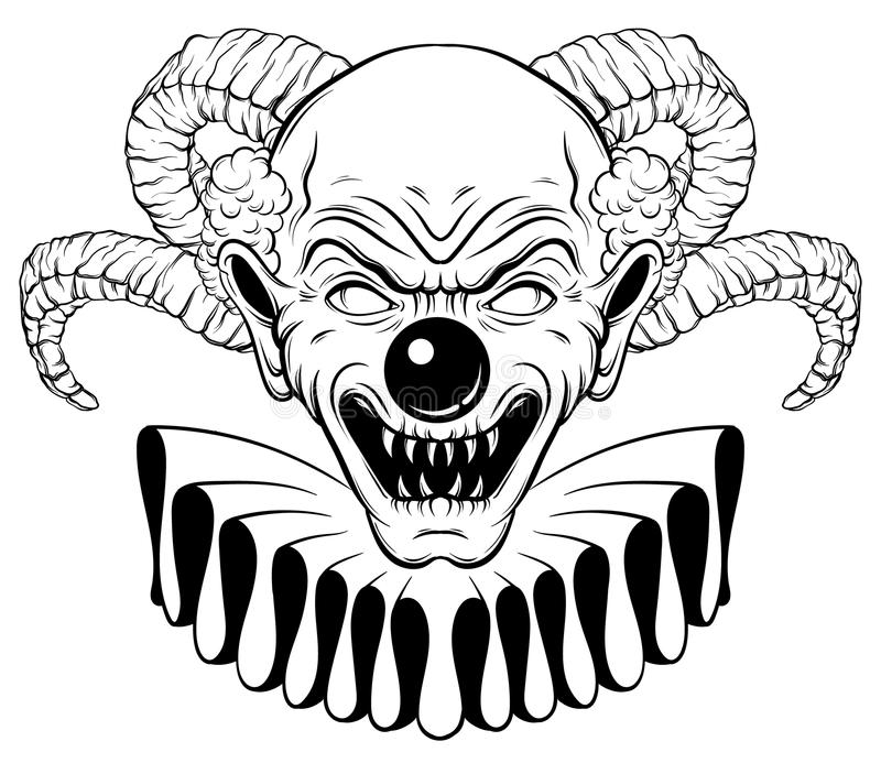 Dragen illustration för vektor hand av den ilskna clownen med horn royaltyfri illustrationer