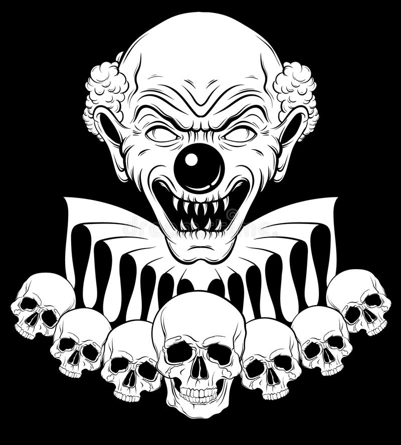 Dragen illustration för vektor hand av den ilskna clownen med mänskliga skallar arkivfoto