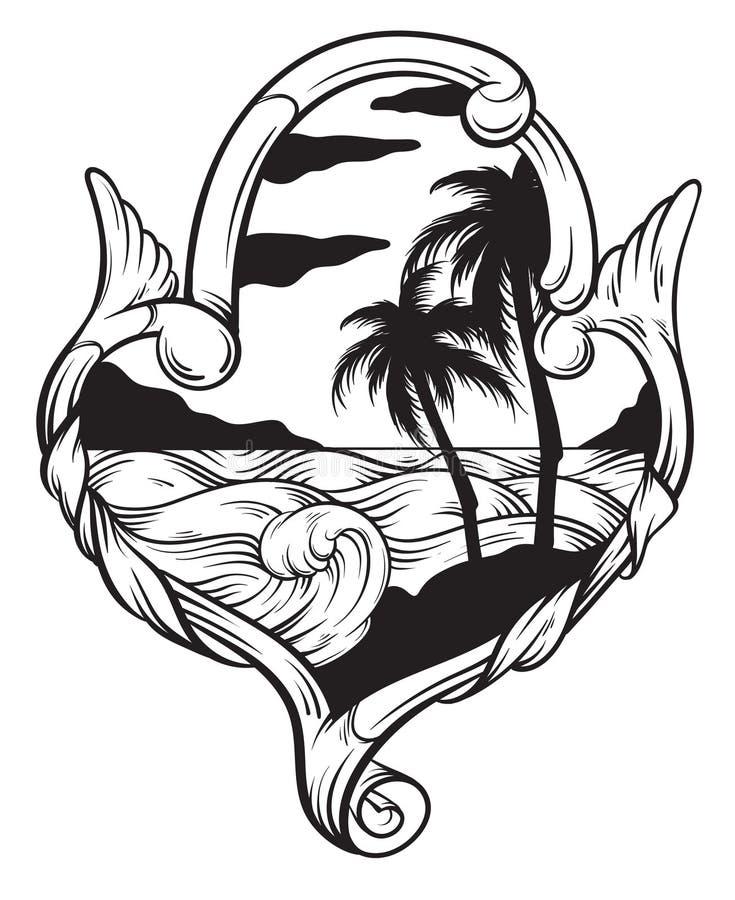 Dragen illustration för vektor hand av det tropiska landskapet med vågor i ram royaltyfri illustrationer