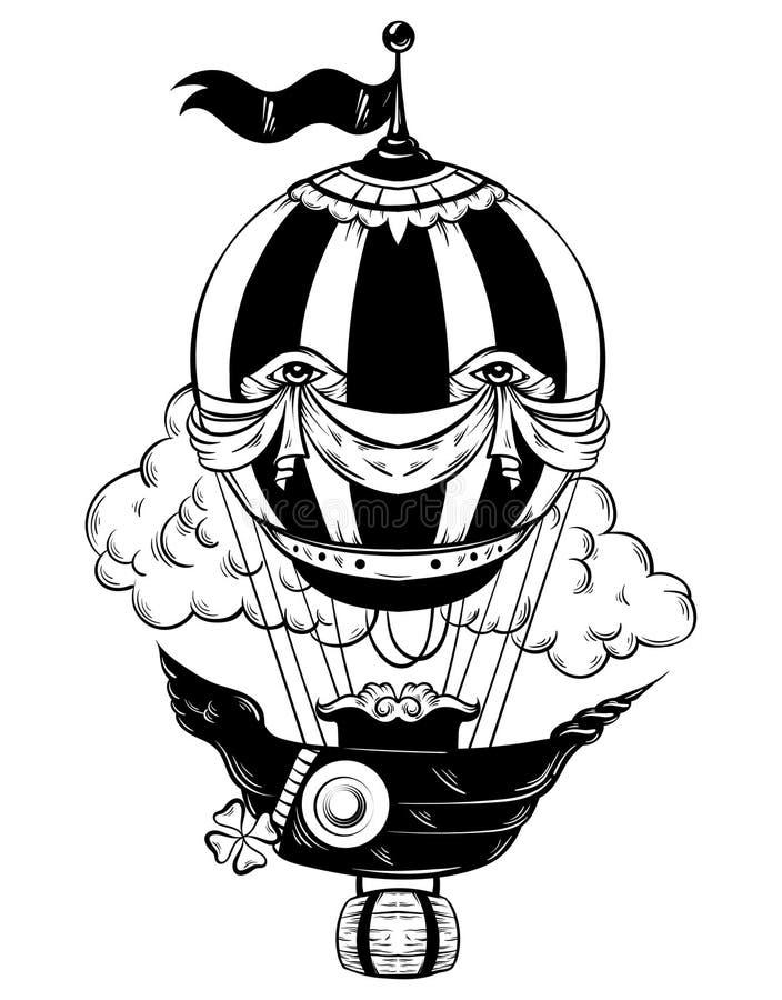 Dragen illustration för vektor hand av luftballongen royaltyfri illustrationer