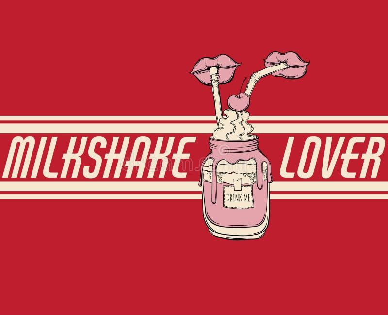 Dragen illustration för vektor hand av milkshake vektor illustrationer