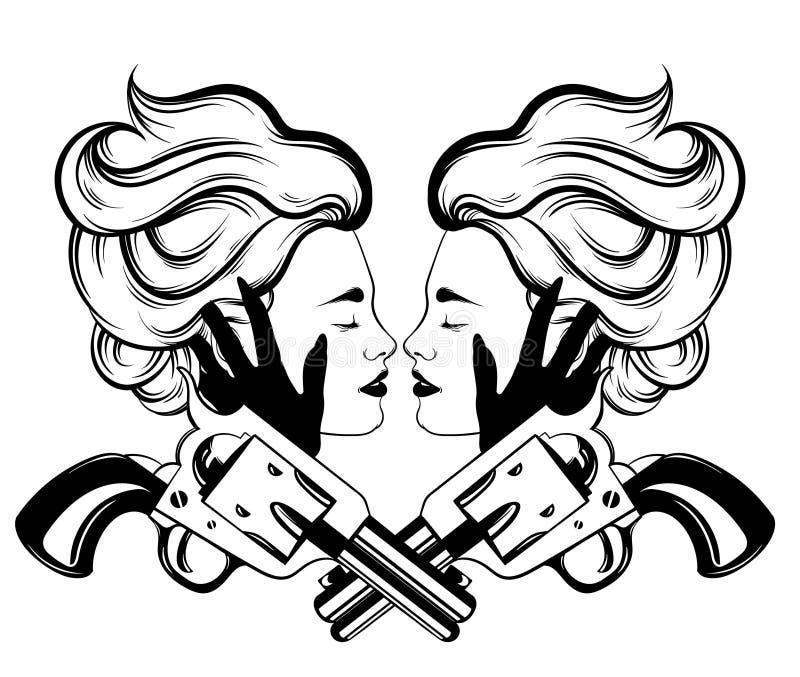 Dragen illustration för vektor hand av par av kvinnor vektor illustrationer