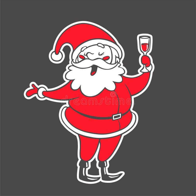 Dragen illustration för vektor hand av Santa Claus med drinkisolaten stock illustrationer