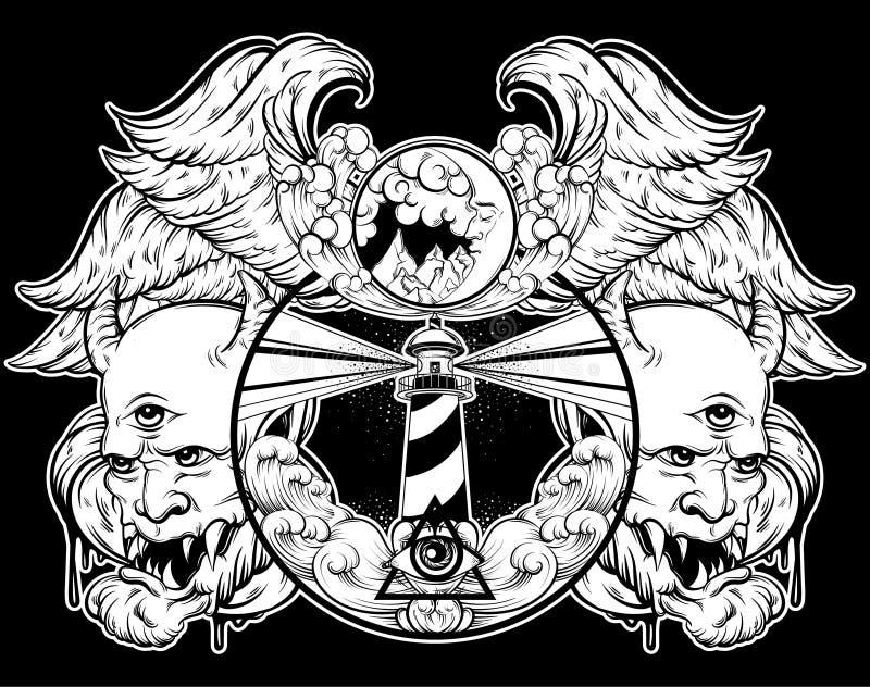 Dragen illustration för vektor hand av tappningfyren stock illustrationer