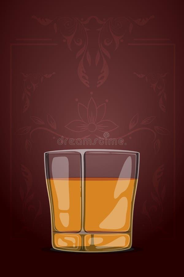 dragen illustration för vektor hand i tecknad filmstil exponeringsglas isolerad reflexionswhiskeywhite Mall för vinlista Dekorati stock illustrationer