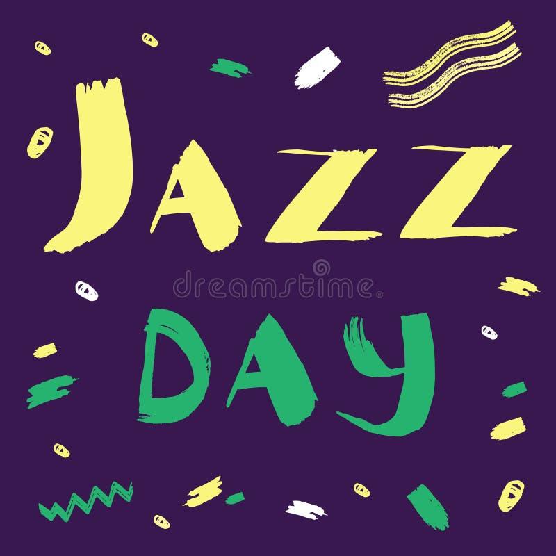 Dragen illustration för vektor hand för internationell jazzdag med uttrycksfull bokstäverguling och gräsplan på lilor royaltyfri illustrationer