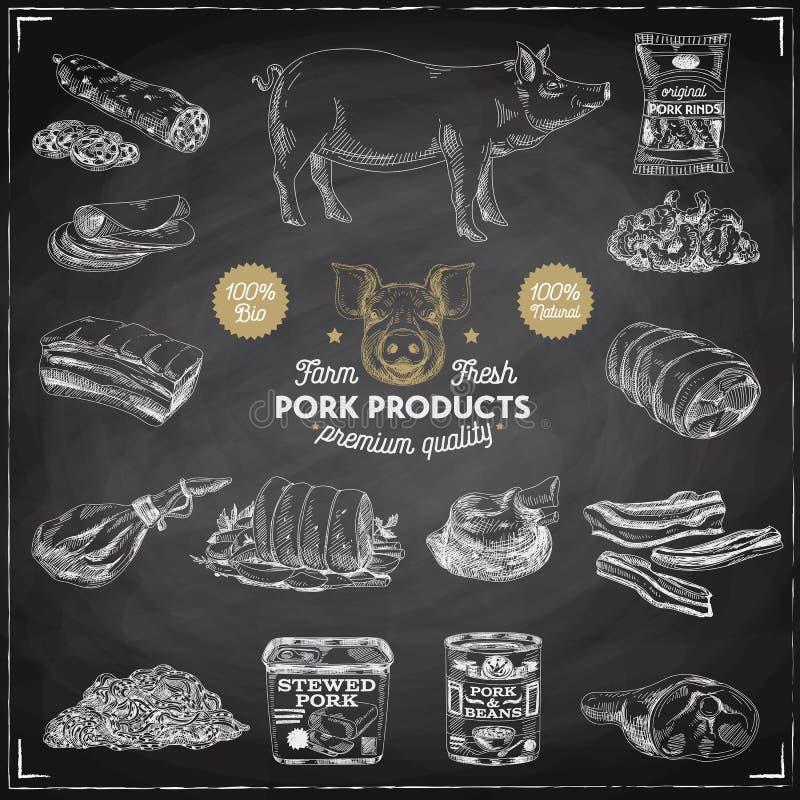 Dragen illustration för vektor hand med köttprodukter royaltyfri illustrationer