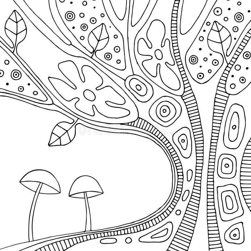 Dragen illustration för vektor svartvit hand av det psykedeliska abstrakta trädet, blommor, sidor, prickar, champinjoner, bakgrun royaltyfri illustrationer
