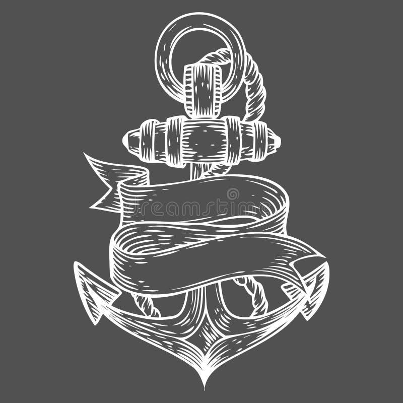 Dragen illustration inristad stil för ankarvektor hand Nautiskt klotter för Retro tappning royaltyfri illustrationer