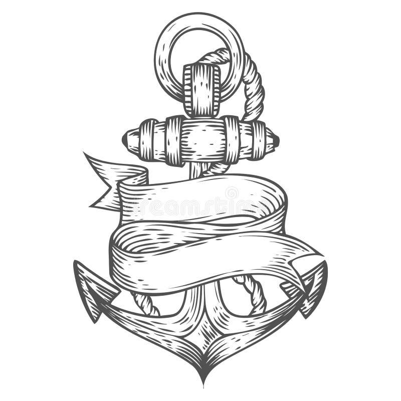 Dragen illustration inristad stil för ankarvektor hand Nautiskt klotter för Retro tappning stock illustrationer