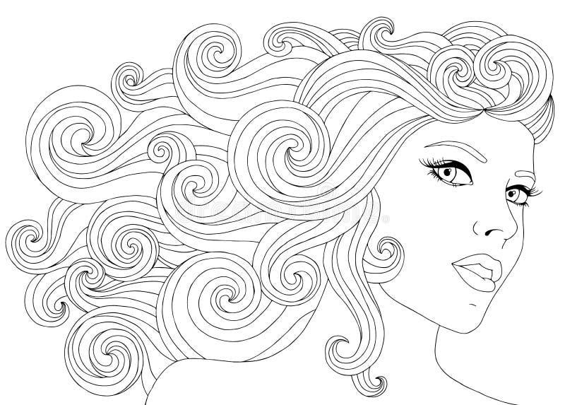 Dragen illustrationkvinna för vektor hand med blom- hår för vågor för vuxen färgläggningbok Skissa Freehand för vuxet anti- arkivbild
