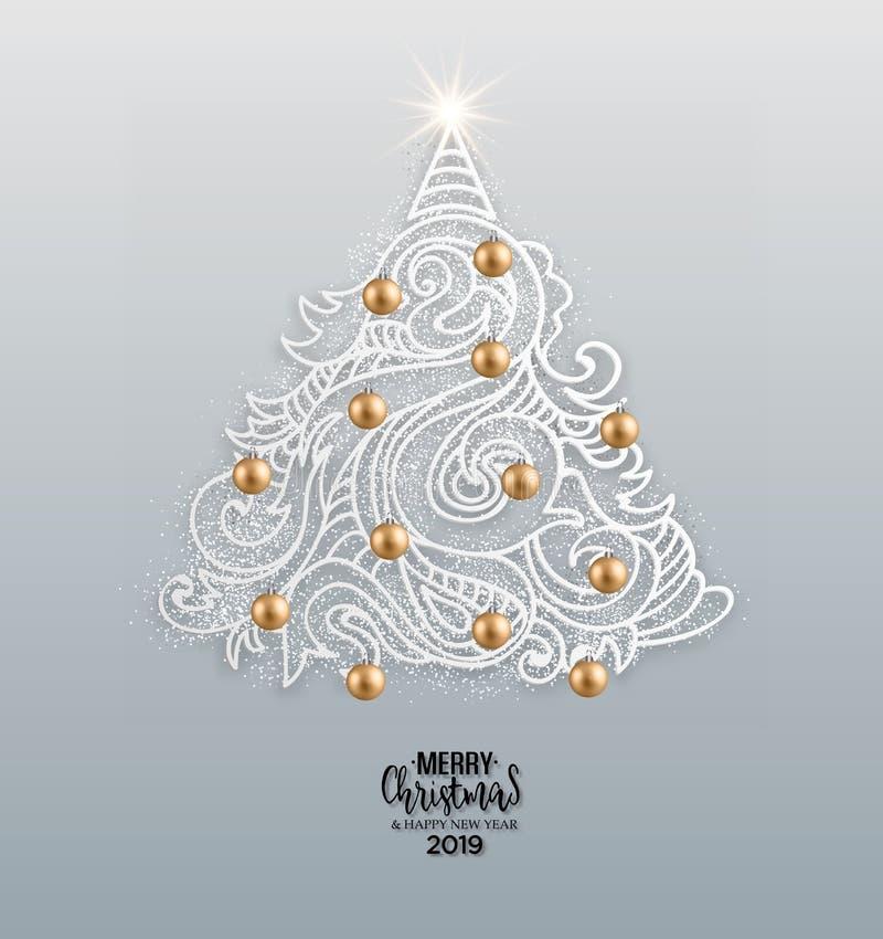 Dragen julgran för vektor hand royaltyfri illustrationer