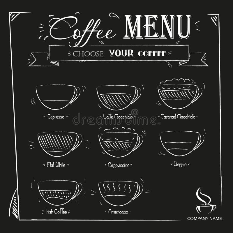 Dragen kaffemeny för tappning hand på svart bakgrund stock illustrationer