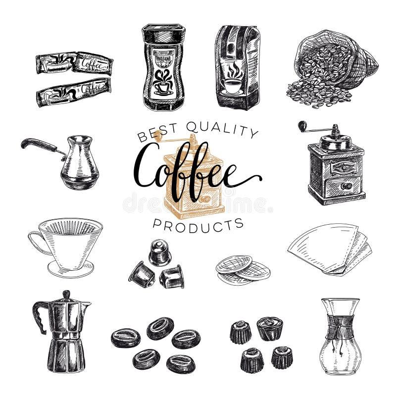 Dragen kaffeuppsättning för vektor hand skissa royaltyfri illustrationer
