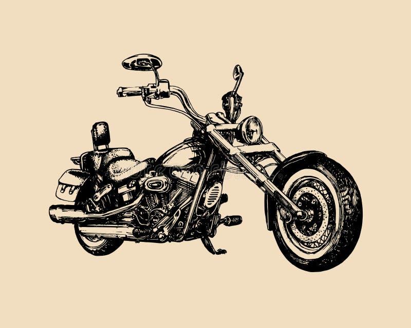 Dragen klassisk avbrytare för vektor hand för konferenciéetikett Tappning specificerade motorcykelillustrationen för det beställn royaltyfri illustrationer