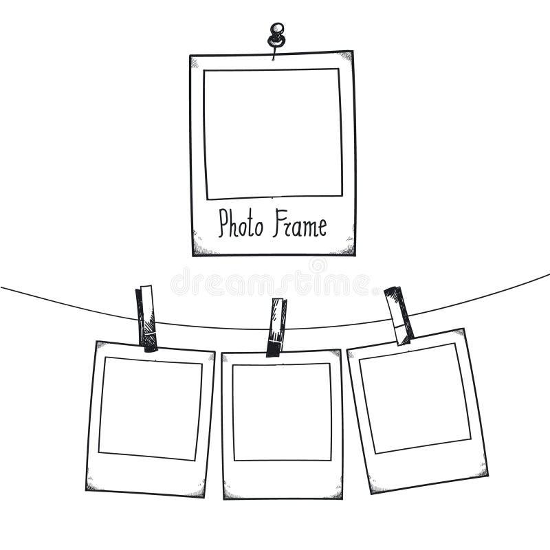 Dragen klotterillustration för vektor hand av den retro fotoramen stock illustrationer