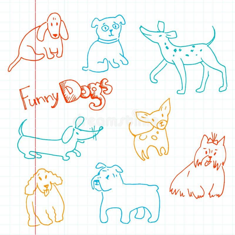Dragen klottersamling för vektor hand av rolig hundkapplöpning Olik bre stock illustrationer
