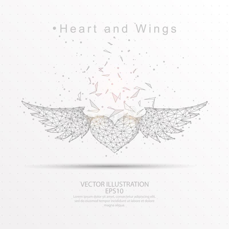Dragen låg poly trådram för hjärta och för vingar digitalt royaltyfri illustrationer