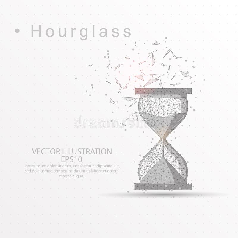 Dragen låg poly trådram för timglas digitalt på vit bakgrund royaltyfri illustrationer