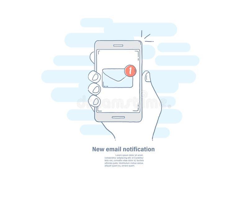 Dragen linje lägenhetsymbol för vektorillustration hand av det nya emailmeddelandet på den smarta telefonen Smartphone skärm med  vektor illustrationer