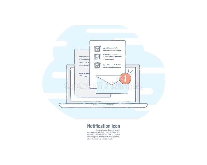 Dragen linje lägenhetsymbol för vektorillustration hand av det nya mejlmeddelandet på bärbar datorskärmen stock illustrationer