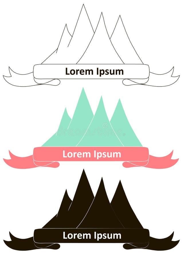 Dragen logo för berg hand i monokrom och färgrik version den lätta designen redigerar elementet till vektorn royaltyfri illustrationer