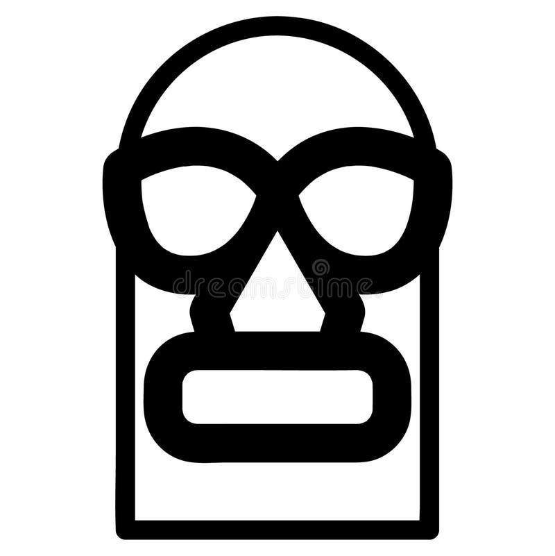Dragen Luchador maskeringshand, vektor, Eps, logo, symbol, konturillustration vid crafteroks för olikt bruk stock illustrationer