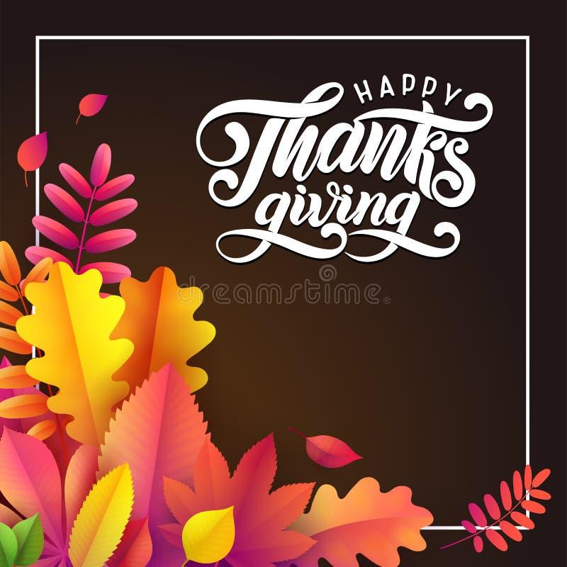 Dragen lycklig tacksägelse för vektor hand, stupad sidafyrkantram på svart bakgrund Festlig stilhöstkalligrafi stock illustrationer