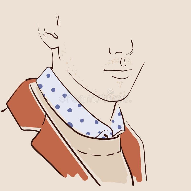 Dragen manframsidahand stiligt manståendebarn vektor royaltyfri illustrationer