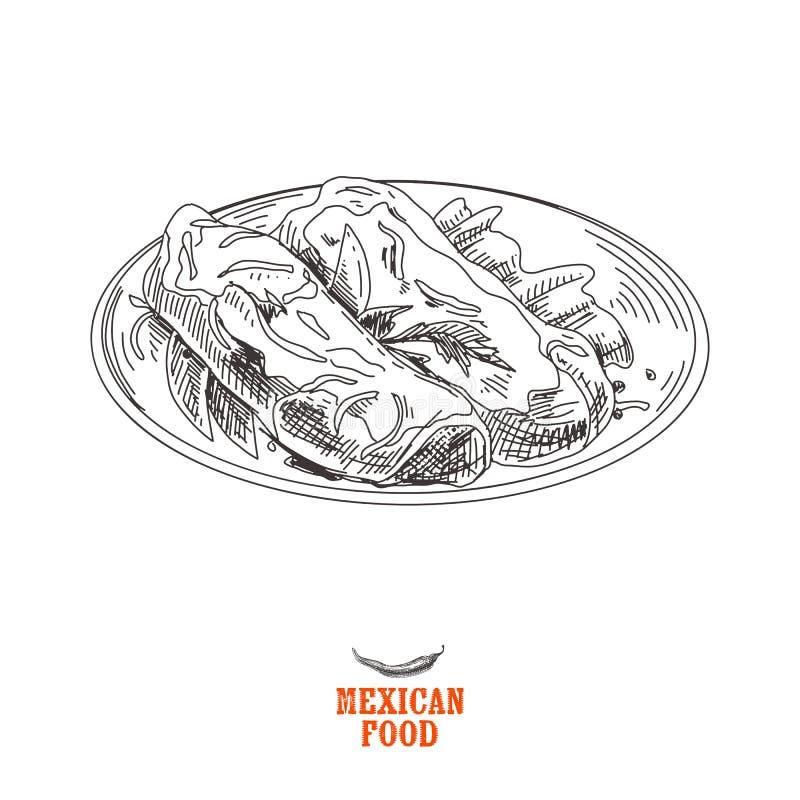 Dragen mexicansk mat för tappningvektorn skissar handen illustrationen vektor illustrationer