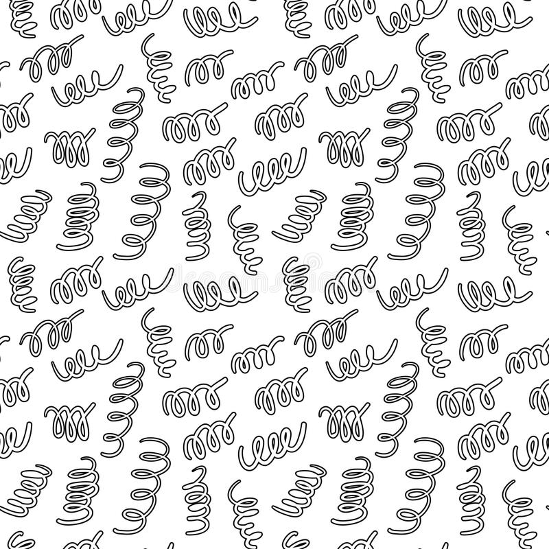 Dragen organisk sömlös modell för vektor hand Svartklotteröversikt på vit bakgrund stock illustrationer