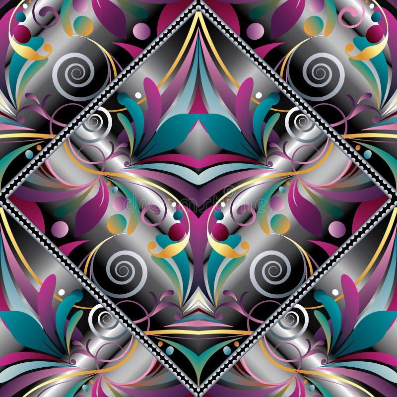Dragen paisley för tappning hand sömlös modell Färgrik vektorflo royaltyfri illustrationer