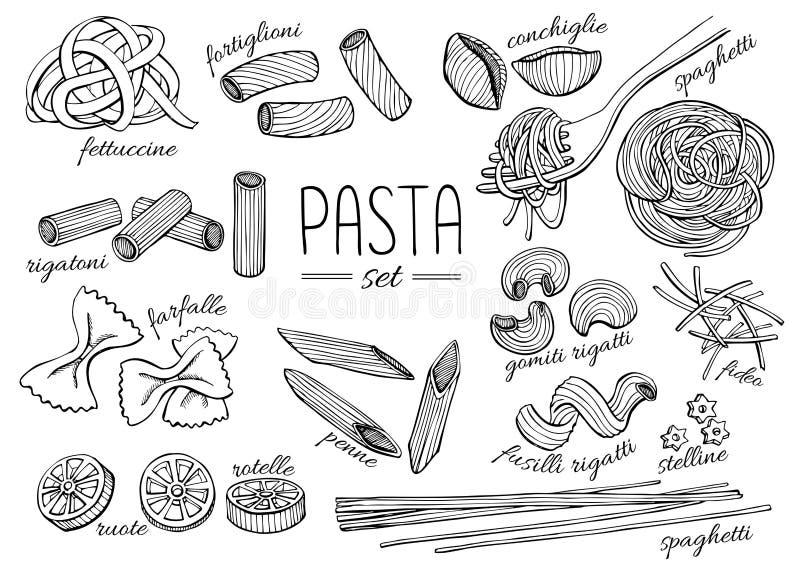 Dragen pastauppsättning för vektor hand Tappninglinje konstillustration fotografering för bildbyråer