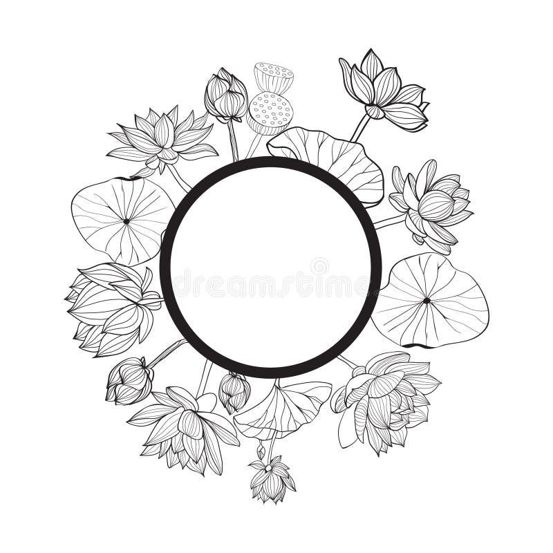 Dragen rund blom- ram för vektor hand royaltyfri illustrationer